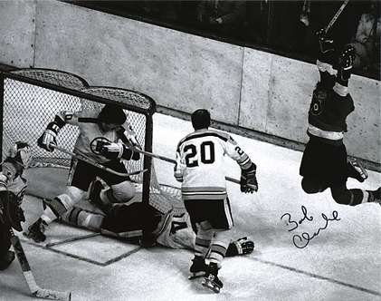 Bob Clarke Philadelphia Flyers signed 8x10 game winning goal vs Boston Bruins