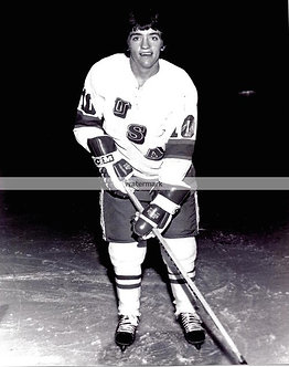 MARK JOHNSON 1980 MIRACLE ON ICE OLYMPIC GOLD MEDAL BW PHOTO
