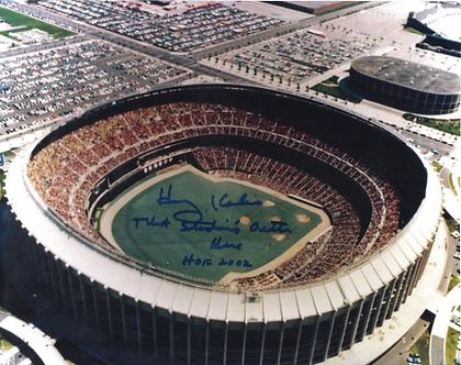 "Harry Kalas Phillies signed Veterans Stadium 8x10 photo ""Outta Here"""