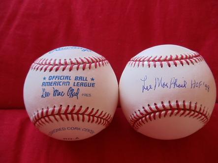 Lee MacPhail Yankees Orioles autographed Lee MacPhail baseball-