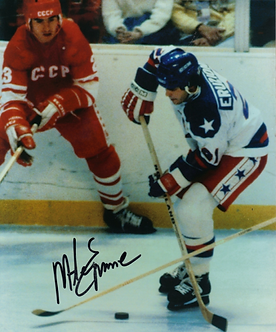 Mike Eruzione USA Olympic Hockey Miracle on Ice signed action 8x10 photo #1