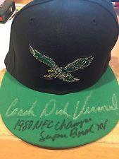 DICK VERMEIL PHILADELPHIA EAGLES SIGNED HAT 1980 NFC CHAMPS INSCRIPTION