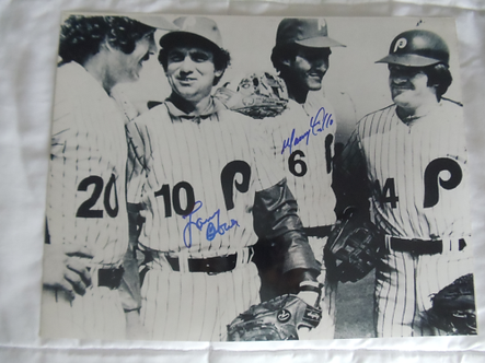 Larry Bowa Manny Trillo signed 11x14 1980 Phillies World Series Infield Ros