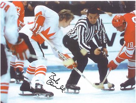 Bob Clarke Flyers autographed 8.5x11 team Canada War On Ice USSR #2
