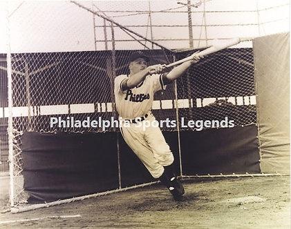 Richie Ashburn 1950 Philadelphia Phillies Whiz Kids drag bunt 8x10 Hall of Fame