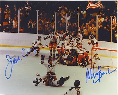 Mike Eruzione Jim Craig dual signed 1980 Miracle on Ice Celebration 8x10