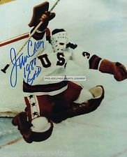 Jim Craig 1980 Olympic Hockey Miracle On Ice autographed 8x10 victory jump #3