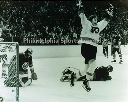 Bob Clarke Philadelphia Flyers game winning goal celebration 8x10