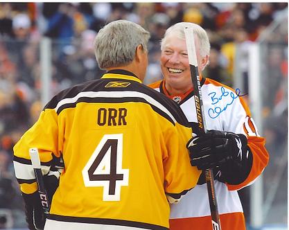 Bob Clarke autographed Winter Classic 8x10 hugging Bobby Orr Bruins