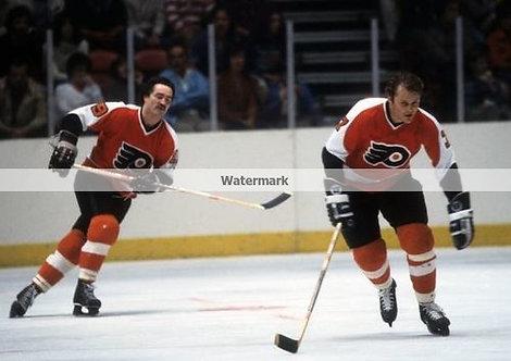 Rick MacLiesh (dec) Bill Barber Philadelphia Flyers photo Bullies