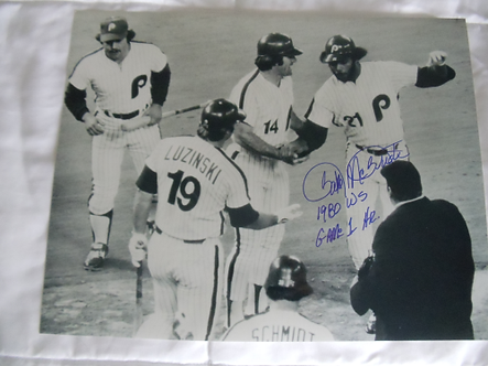 Bake McBride signed 1980 Philadelphia Phillies World Series Gm 1 Home Run 11x14