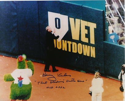 """Harry Kalas Phillies signed last game at the Vet 8x10 """"That Stadium's Outta Here"""