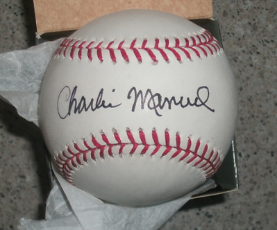Charlie Manuel signed MLB baseball Philadelphia Phillies