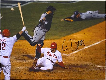 Eric Bruntlett signed Phillies 2008 World Series Game Winning Run 8x10