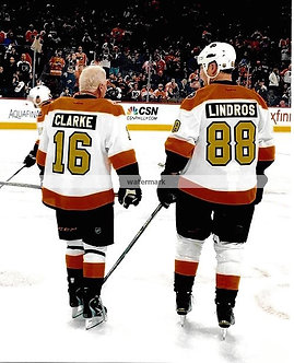 BOB CLARKE ERIC LINDROS FLYERS 50TH ANNIVERSARY PHOTO