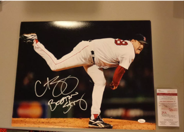 """CURT SCHILLING RED SOX PHILLIES SIGNED 16X20 """"BOSTON STRONG"""" INSCRIPTION"""