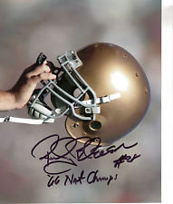 ROCKY BLEIER AUTOGRAPHED RAISED HELMET 8X10 NOTRE DAME FIGHTING IRISH 66 CHAMPS!