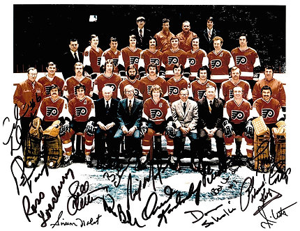 1973-74 FLYERS STANLEY CUP CHAMPS 15 SIGNED TEAM PHOTO CLARKE PARENT BARBER