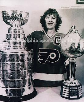 Bob Clarke Philadelphia Flyers 8x10 photo with Hart Trophy/ Stanley Cup
