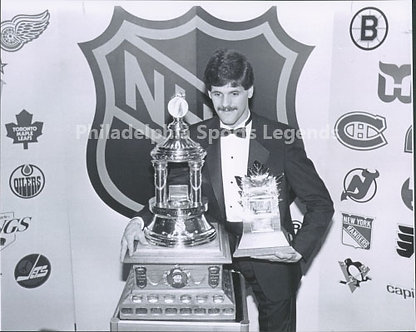 Ron Hextall Philadelphia Flyers 8x10 with Vezna and Conn Smythe Trophies