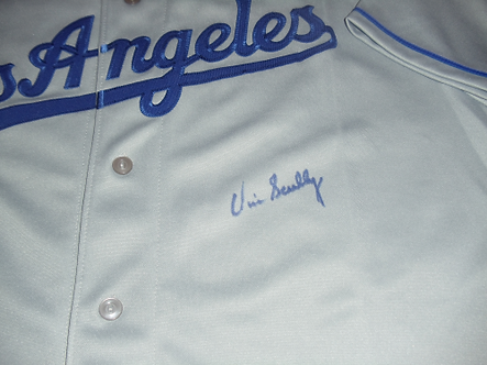 "Vin Scully ""Voice of the Dodgers"" autographed LA jersey"