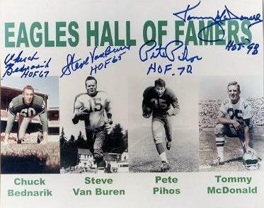 Philadelphia Eagles Hall of Famers signed 8x10 Bednarik Pihos Van Buren McDonald