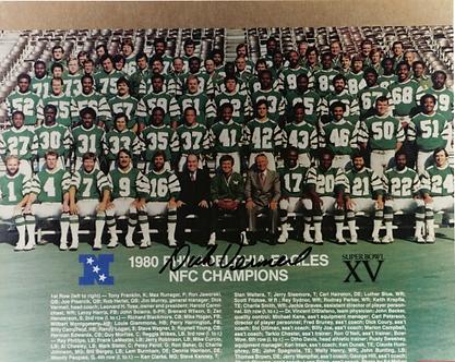 Dick Vermeil signed 1980 Philadelphia Eagles Super Bowl XV team 8x10 photo-