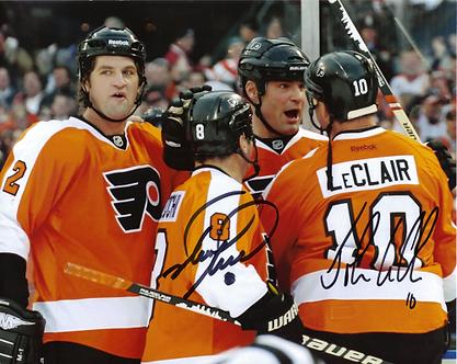 John LeClair Mark Recchi autographed Philadelphia Flyers 2011 Winter Classic