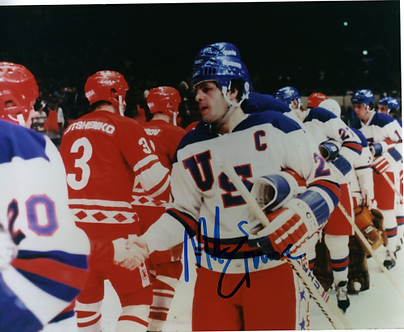 Mike Eruzione USA Olympic Hockey Miracle on Ice 8x10 signed shaking hands USSR