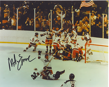 Mike Eruzione USA Olympic Hockey Miracle on Ice signed celebration 8x10