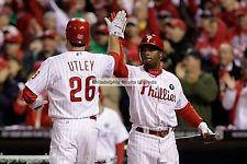 JIMMY ROLLINS CHASE UTLEY 2008 PHILADELPHIA PHILLIES 8X10 PHOTO AWESOME
