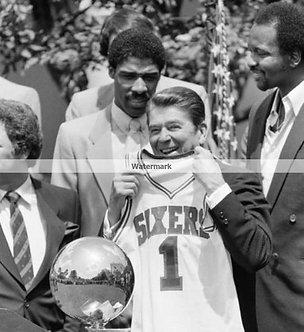 1983 Philadelphia 76ers Ronald Regan Erving Moses Katz