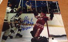 JOHN HARRINGTON SIGNED 1980 OLYMPIC GOLD 8X10 MIRACLE ON ICE GAME WINNING GOAL