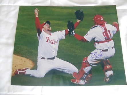 Carlos Chooch Ruiz signed 11x14 2008 World Series Celebration with Brad Lidge