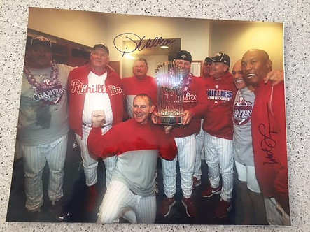 2008 PHILLIES WORLD SERIES COACHES SIGNED 11X14 THOMPSON & WILLIAMS