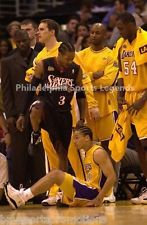 ALLEN IVERSON SIXERS STEPPING OVER TYRONN LUE LAKERS GAME ONE NBA FINALS