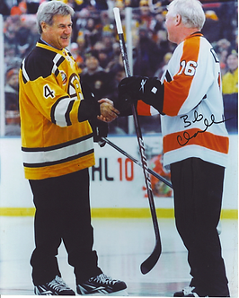 Bob Clarke autographed Winter Classic 8x10 shaking hands w/ Bobby Orr Bruins