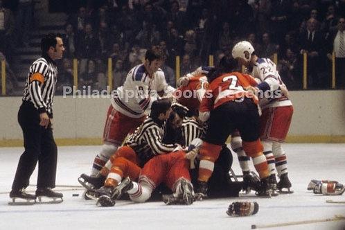 Philadelphia Flyers Broad Street Bullies color fight 8x10