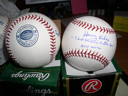 "Harry Kalas Phillies signed Vet Stadium Ball ""That Stadium's Outta Here"""