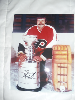 Bernie Parent Philadelphia Flyers signed 11x14 with Stanley Cup
