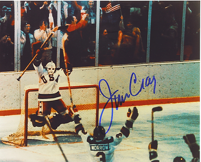 Jim Craig 1980 Olympic Hockey Miracle On Ice autographed 8x10 victory jump #4