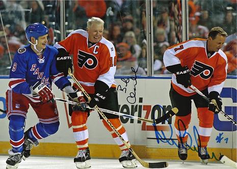 Bob Clarke Bill Barber Philadelphia Flyers signed 2011 Winter Classic Alumni