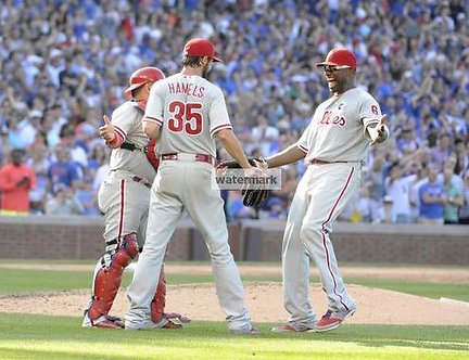COLE HAMELS PHILLIES NO HITTER 8x10 PHOTO vs CHICAGO CUBS 7/25/15 RYAN HOWARD