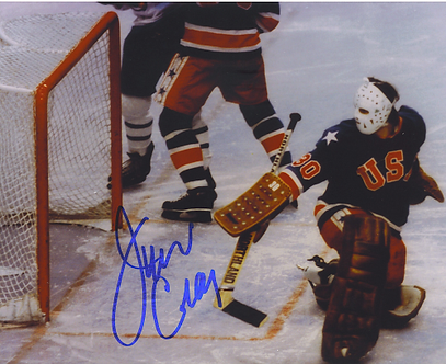 Jim Craig 1980 Olympic Hockey Miracle On Ice autographed 8x10 game save #8