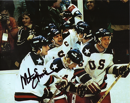 Mike Eruzione USA Olympic Hockey Miracle on Ice signed goal 8x10 photo #1