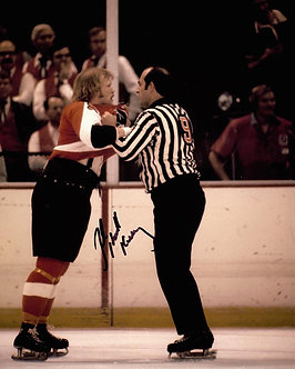 """BOB """"THE HOUND"""" KELLY FLYERS SIGNED BROAD STREET BULLIES FIGHT 8X10"""
