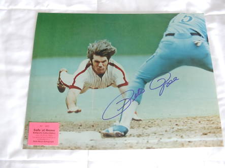 Pete Rose 1980 Philadelphia Phillies signed head first dive 11x14