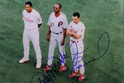 All Veteran's Stadium team right fielders signed 8x10 McBride Eisenrich Abreau