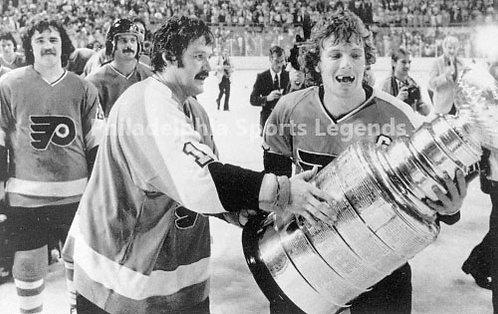 Bernie Parent Bob Clarke Philadelphia Flyers holding Stanley Cup #2 8x10 B&W