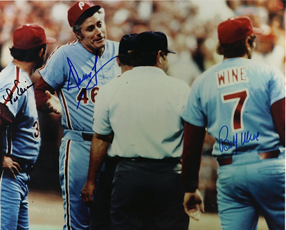 Dallas Green Lee Elia Bobby Wine signed 1980 Phillies 8x10 photo